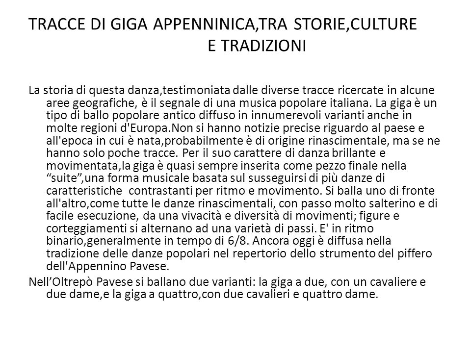 TRACCE DI GIGA APPENNINICA,TRA STORIE,CULTURE E TRADIZIONI