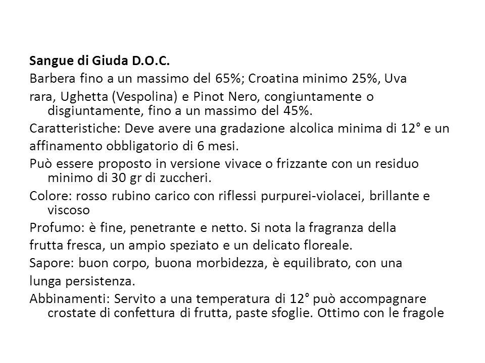 Sangue di Giuda D.O.C. Barbera fino a un massimo del 65%; Croatina minimo 25%, Uva.