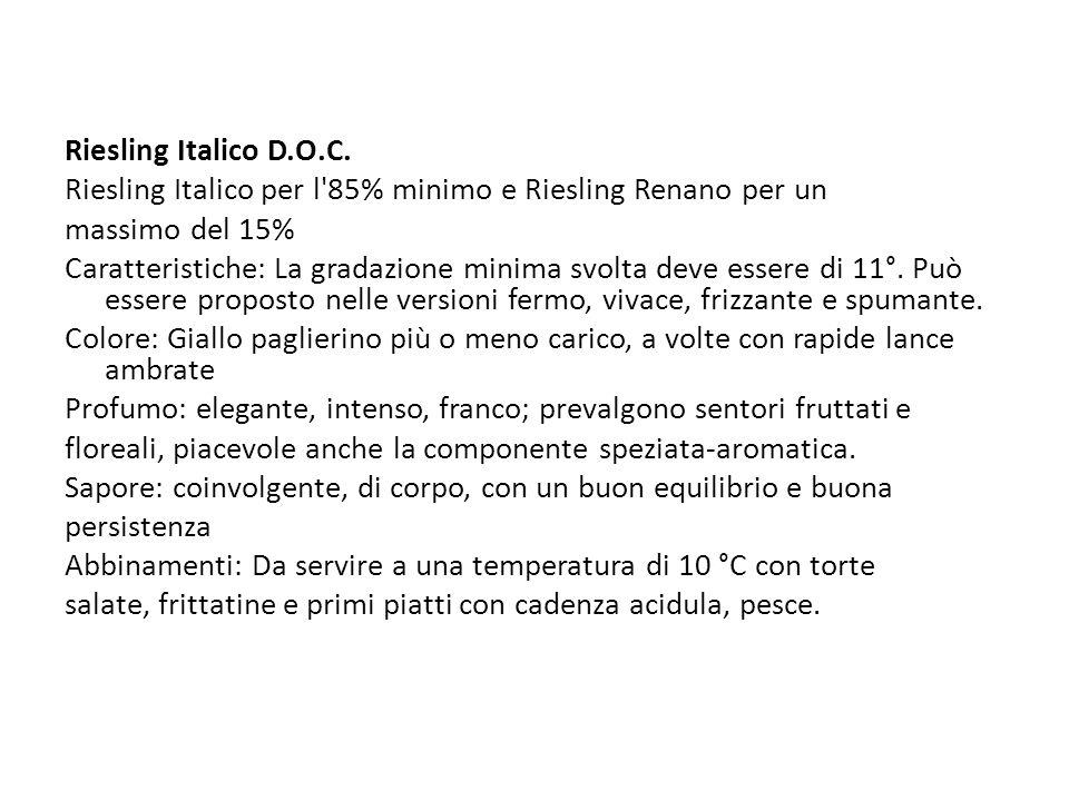 Riesling Italico D.O.C. Riesling Italico per l 85% minimo e Riesling Renano per un. massimo del 15%