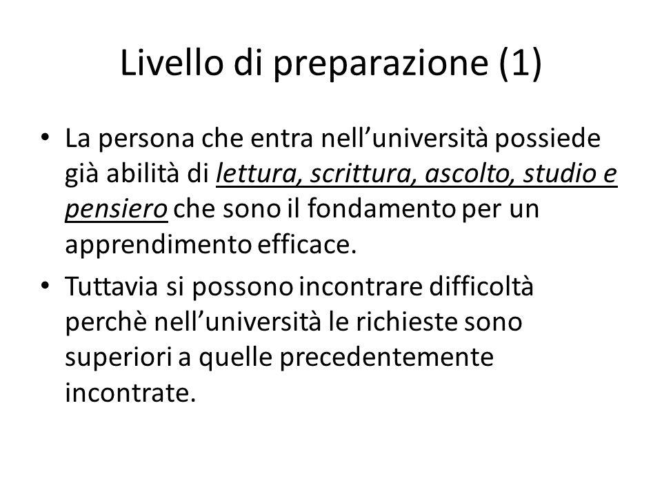 Livello di preparazione (1)
