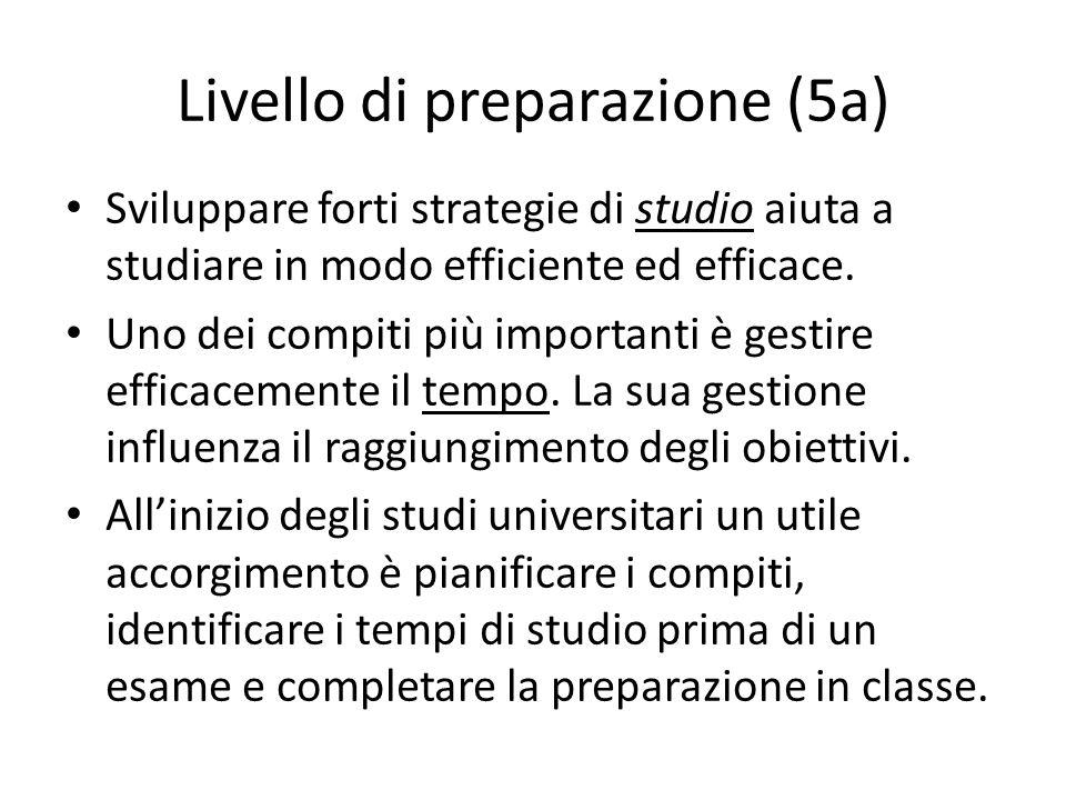 Livello di preparazione (5a)