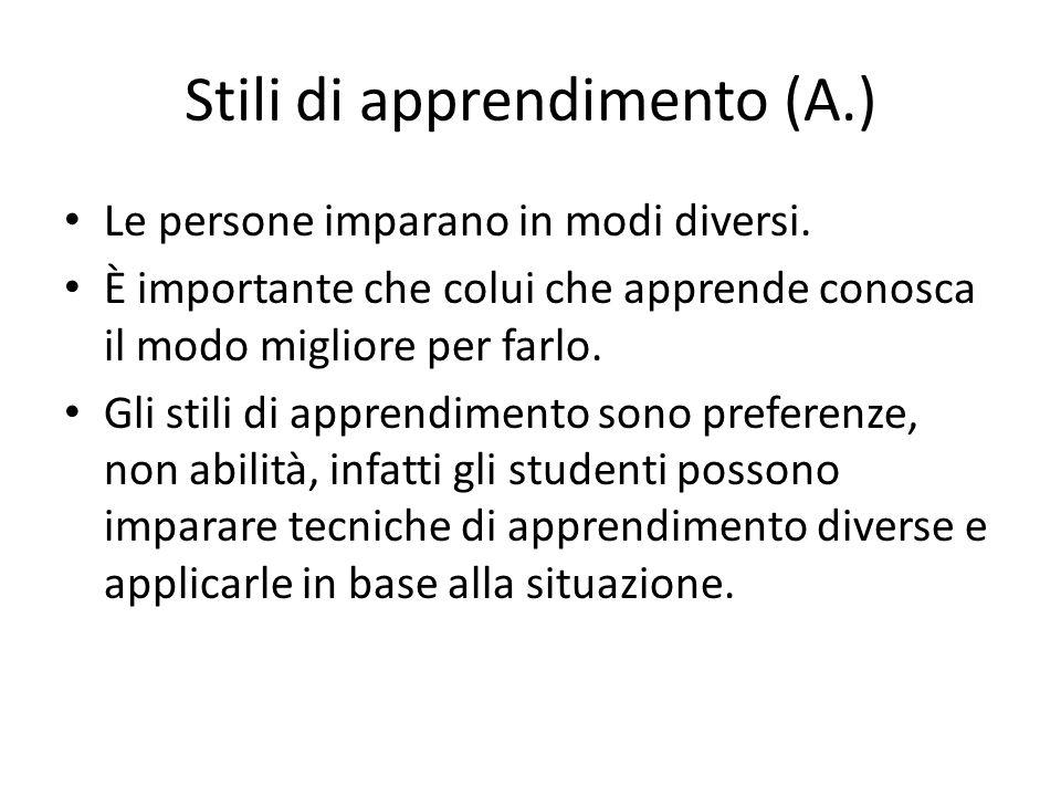 Stili di apprendimento (A.)