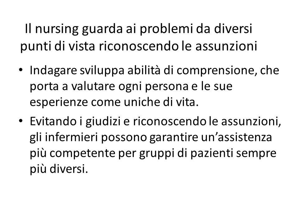 Il nursing guarda ai problemi da diversi punti di vista riconoscendo le assunzioni