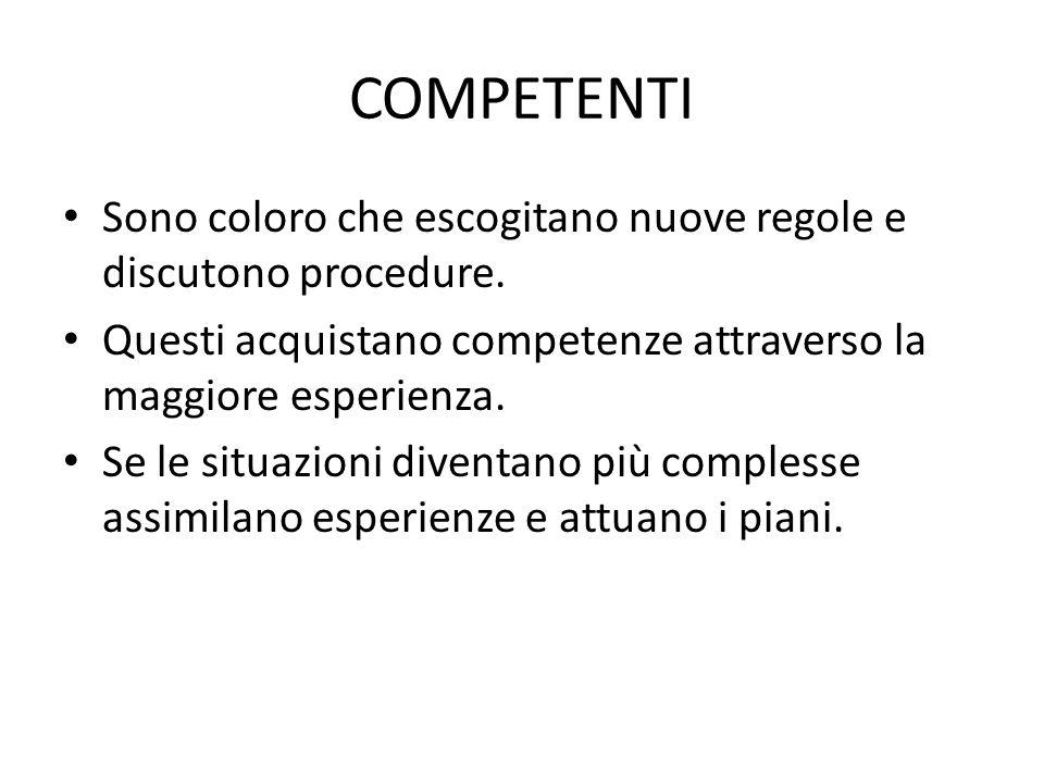 COMPETENTI Sono coloro che escogitano nuove regole e discutono procedure. Questi acquistano competenze attraverso la maggiore esperienza.