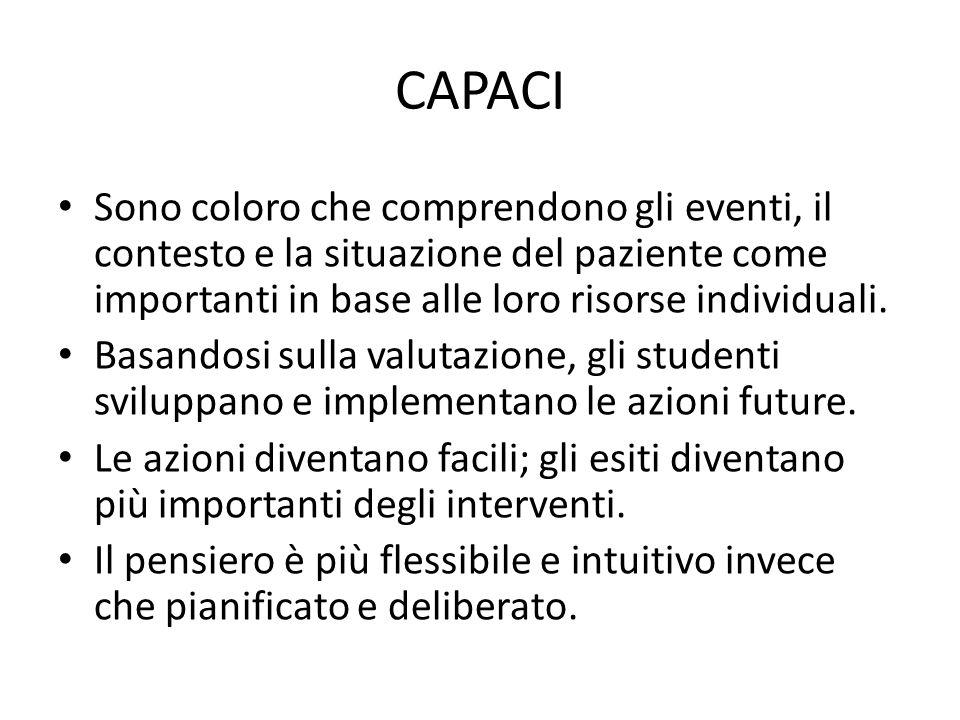 CAPACI Sono coloro che comprendono gli eventi, il contesto e la situazione del paziente come importanti in base alle loro risorse individuali.