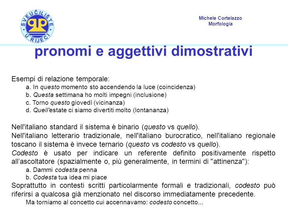 pronomi e aggettivi dimostrativi
