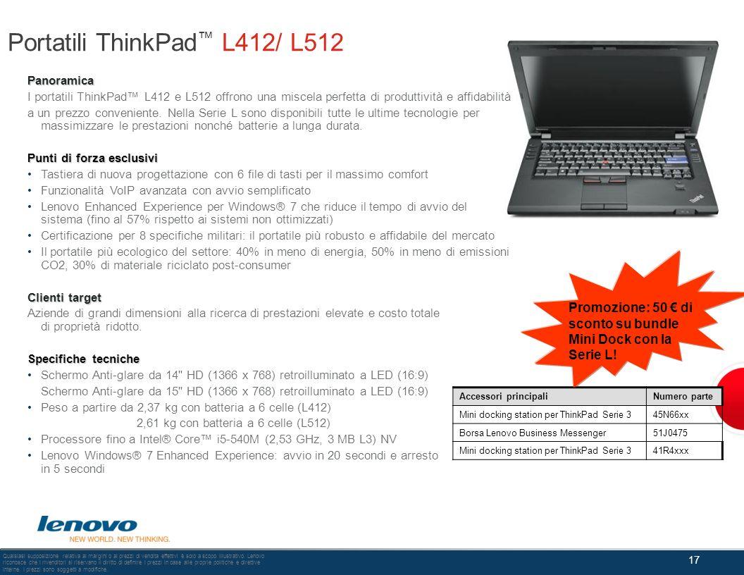 Portatili ThinkPad™ L412/ L512