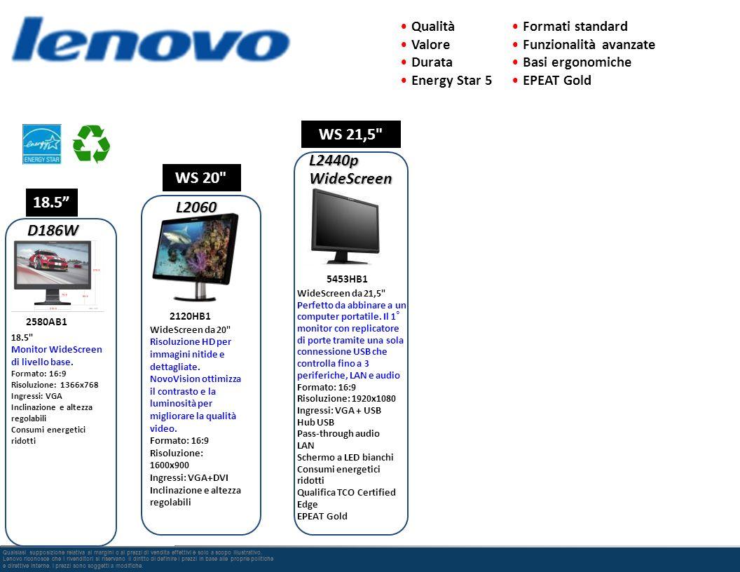 WS 21,5 L2440p WideScreen WS 20 18.5 L2060 D186W Qualità Valore