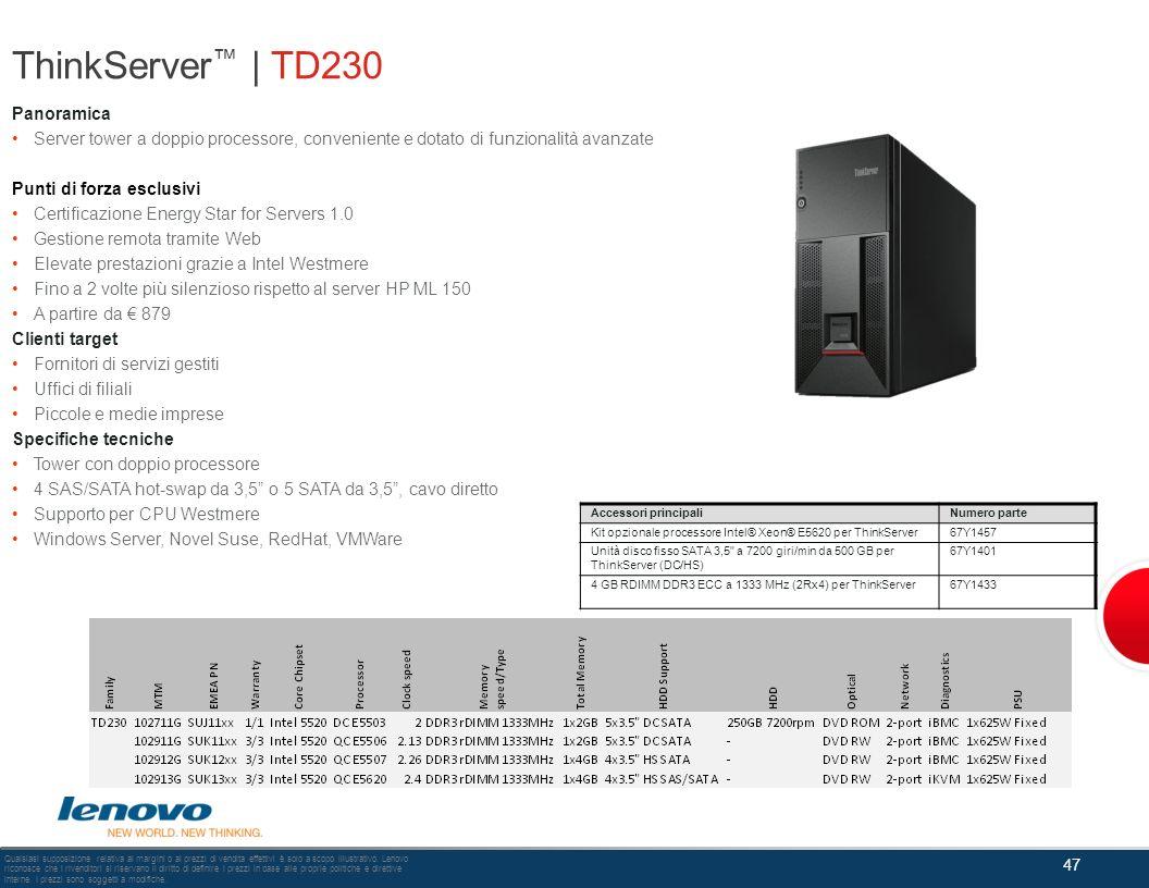 ThinkServer™ | TD230 Panoramica
