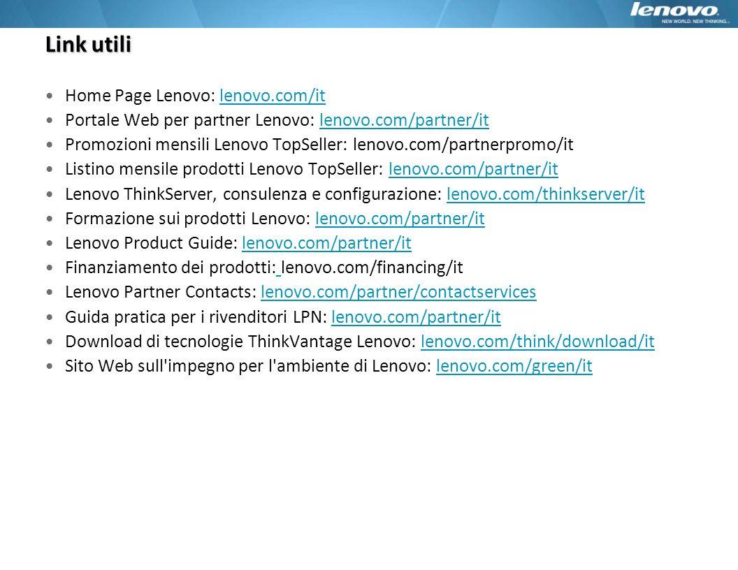 Link utili Home Page Lenovo: lenovo.com/it