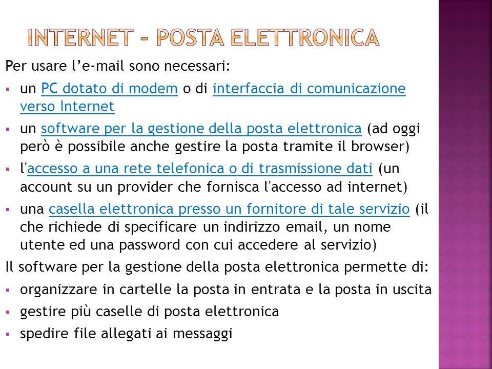 Internet – posta elettronica