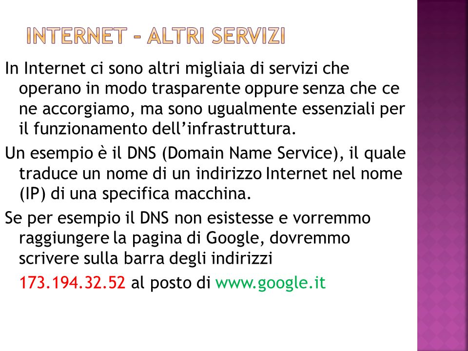Internet – altri servizi
