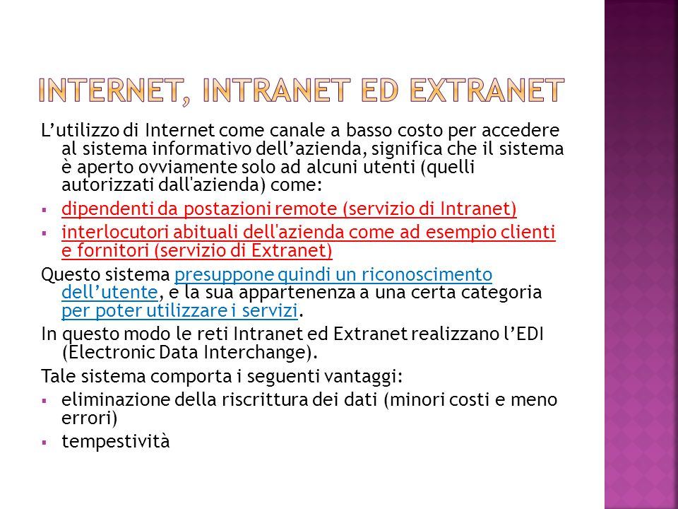 Internet, intranet ed extranet