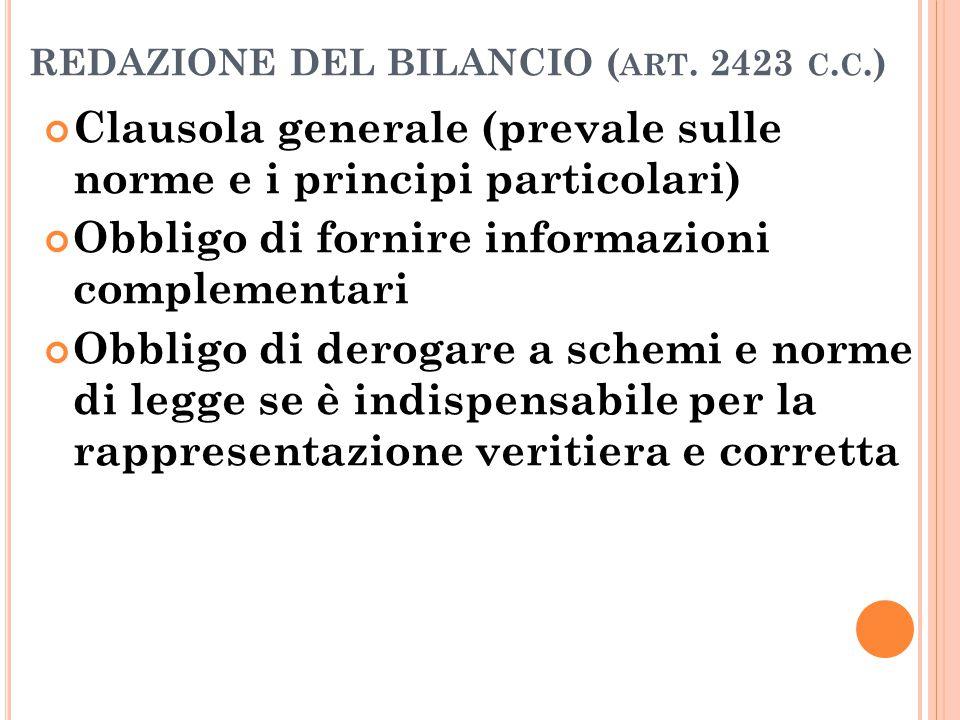 REDAZIONE DEL BILANCIO (art. 2423 c.c.)