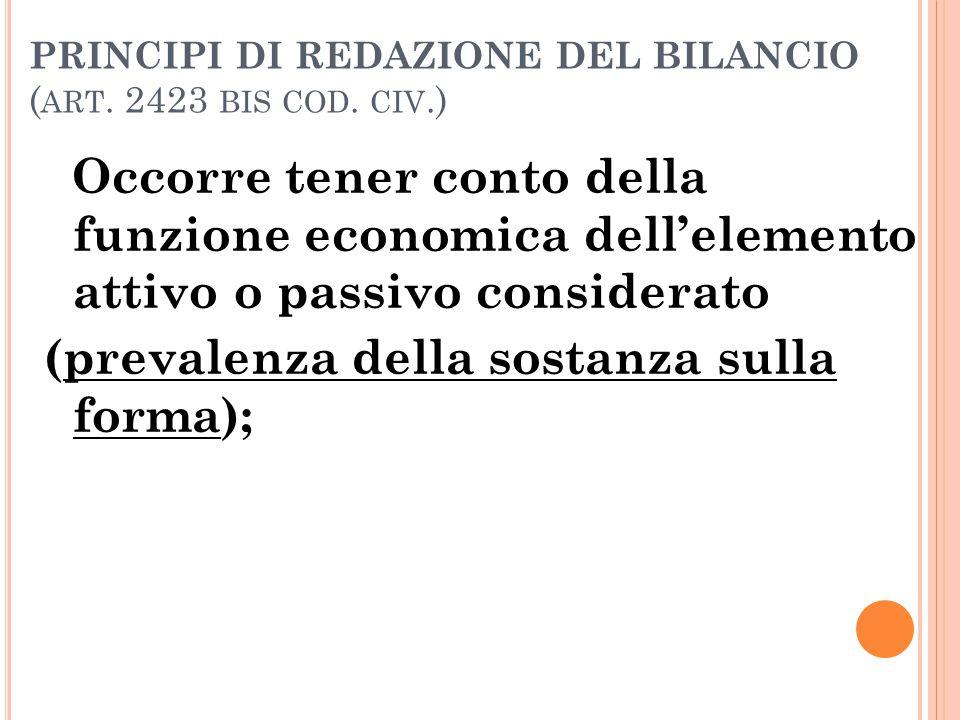 PRINCIPI DI REDAZIONE DEL BILANCIO (art. 2423 bis cod. civ.)