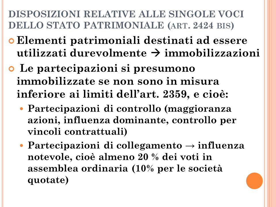 DISPOSIZIONI RELATIVE ALLE SINGOLE VOCI DELLO STATO PATRIMONIALE (art