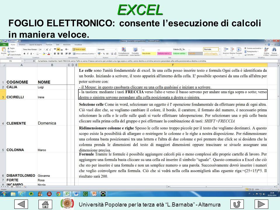 EXCEL FOGLIO ELETTRONICO: consente l'esecuzione di calcoli in maniera veloce.