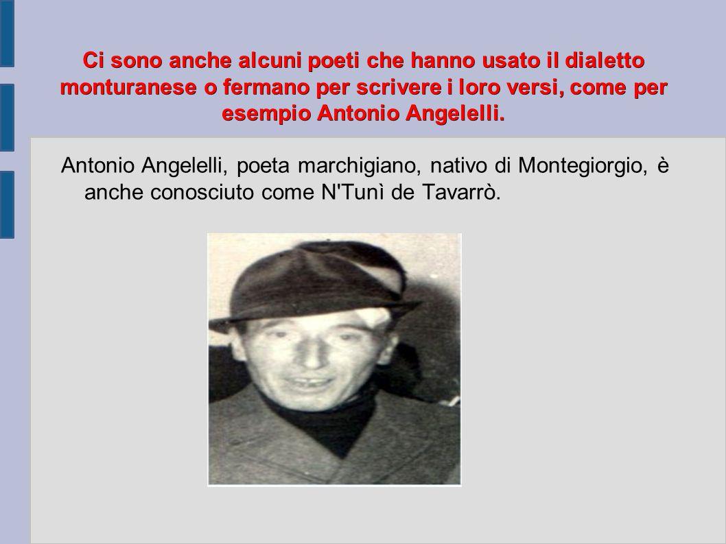 Ci sono anche alcuni poeti che hanno usato il dialetto monturanese o fermano per scrivere i loro versi, come per esempio Antonio Angelelli.