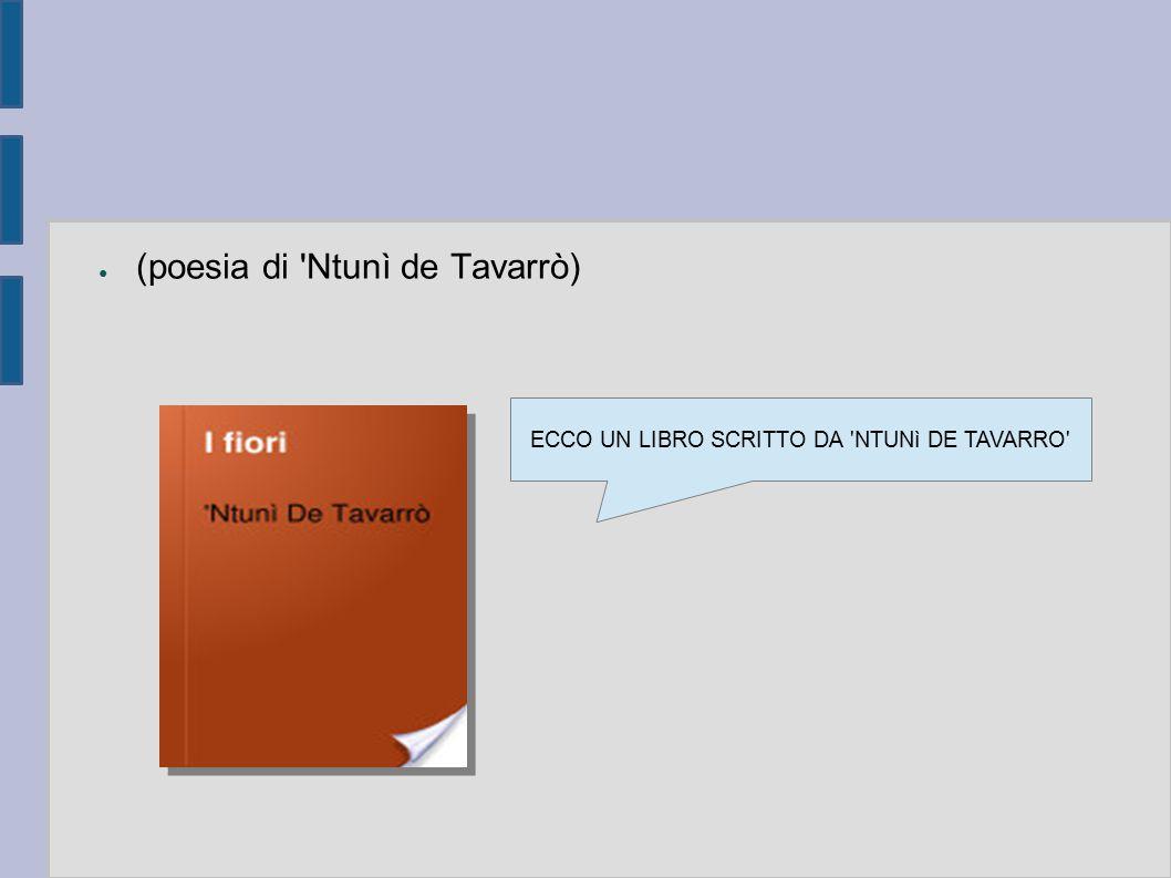 ECCO UN LIBRO SCRITTO DA NTUNì DE TAVARRO