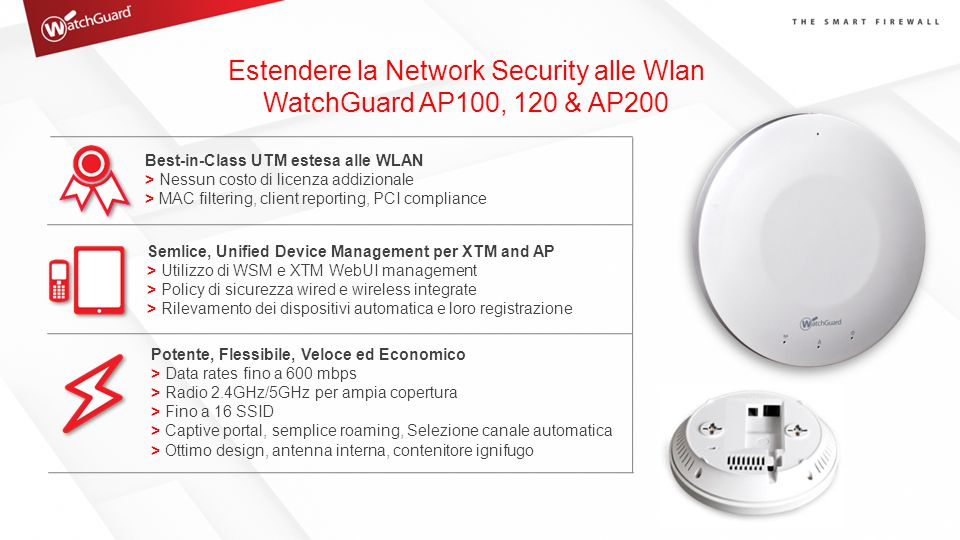 Estendere la Network Security alle Wlan WatchGuard AP100, 120 & AP200