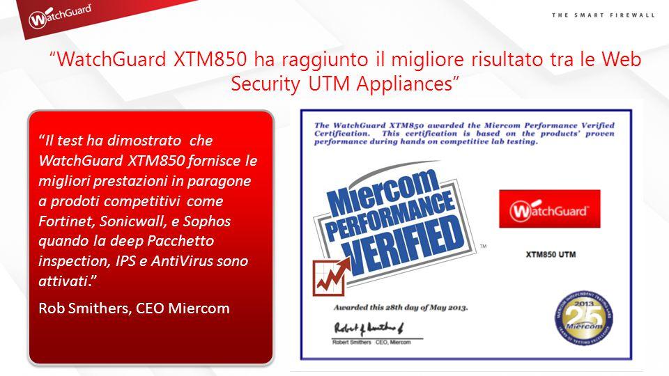 WatchGuard XTM850 ha raggiunto il migliore risultato tra le Web Security UTM Appliances