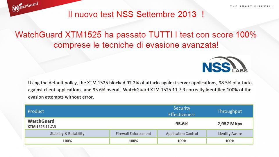 Il nuovo test NSS Settembre 2013