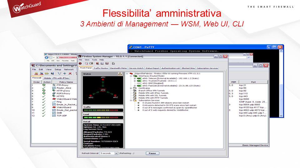 Flessibilita' amministrativa 3 Ambienti di Management — WSM, Web UI, CLI