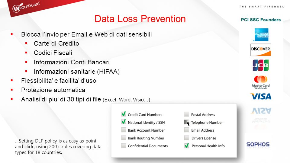 Data Loss Prevention Blocca l'invio per Email e Web di dati sensibili