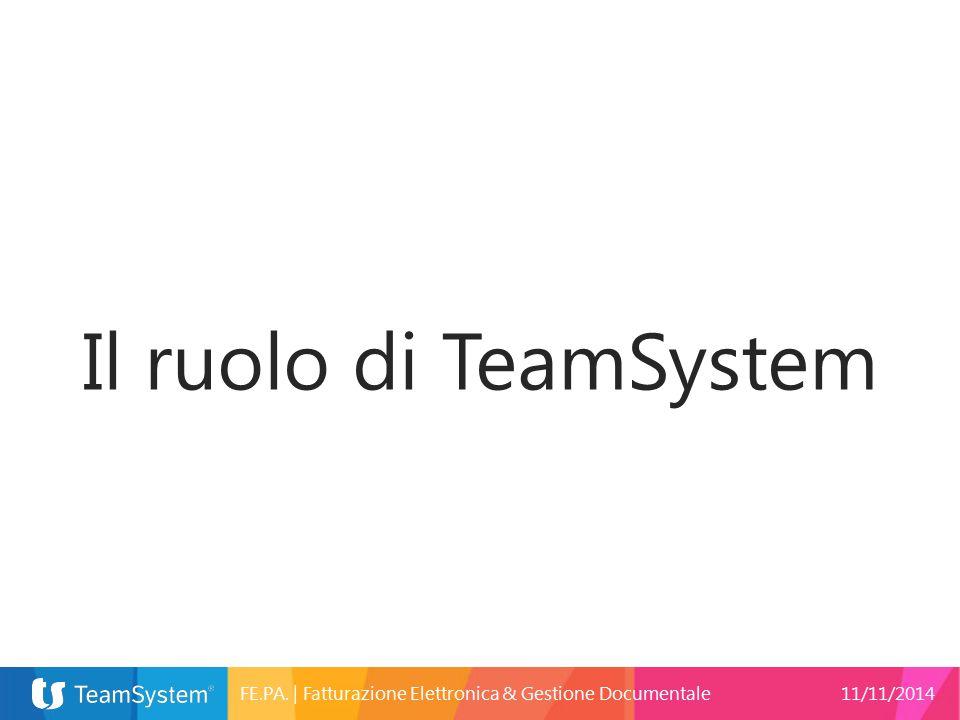 Il ruolo di TeamSystem FE.PA. | Fatturazione Elettronica & Gestione Documentale 11/11/2014