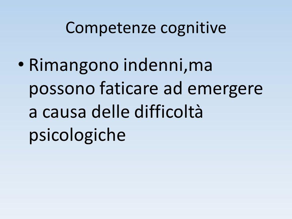 Competenze cognitive Rimangono indenni,ma possono faticare ad emergere a causa delle difficoltà psicologiche.