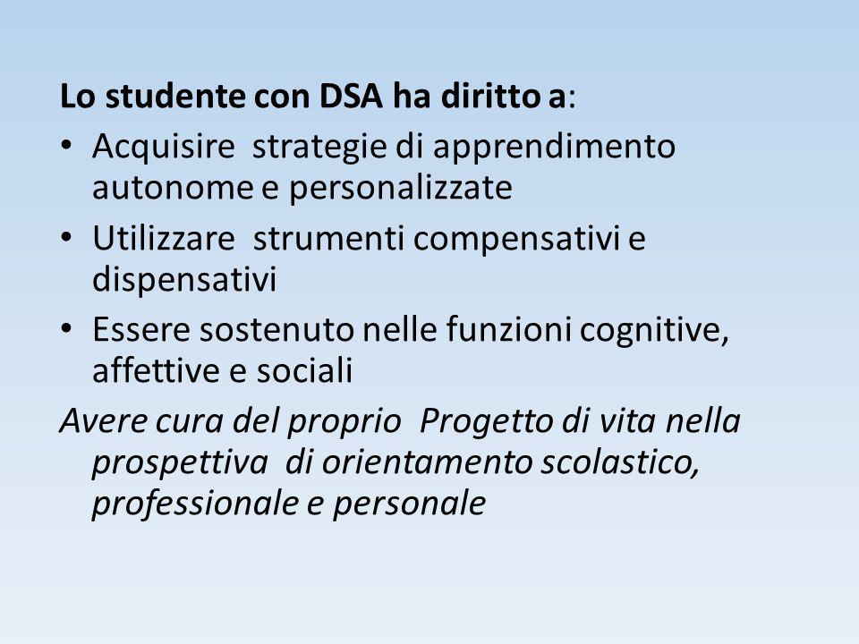 Lo studente con DSA ha diritto a: