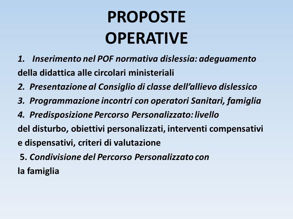 PROPOSTE OPERATIVE Inserimento nel POF normativa dislessia: adeguamento. della didattica alle circolari ministeriali.