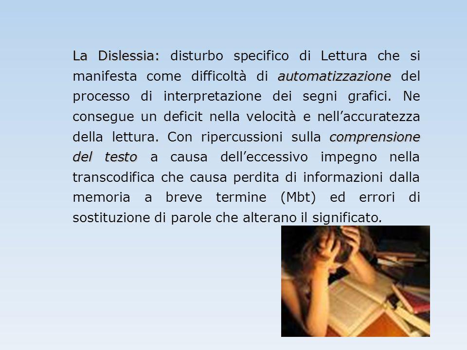 La Dislessia: disturbo specifico di Lettura che si manifesta come difficoltà di automatizzazione del processo di interpretazione dei segni grafici.