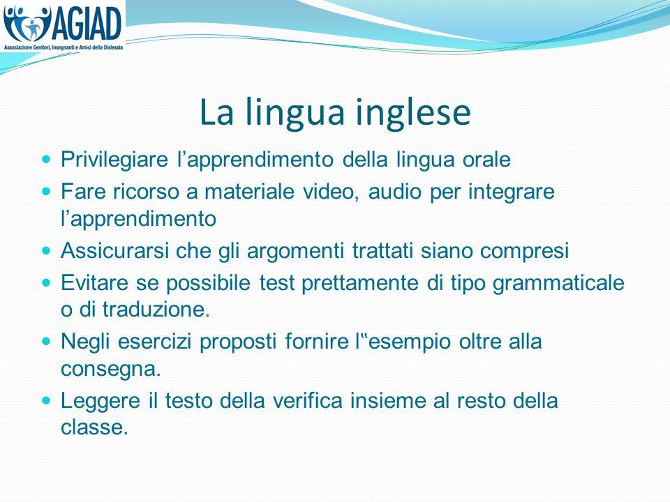 La lingua inglese Privilegiare l'apprendimento della lingua orale