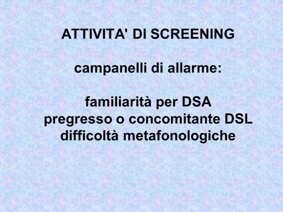 ATTIVITA DI SCREENING campanelli di allarme: familiarità per DSA pregresso o concomitante DSL difficoltà metafonologiche