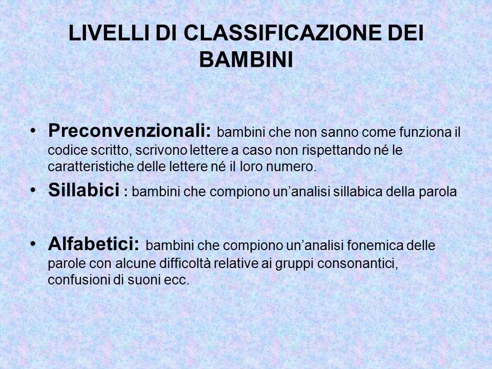 LIVELLI DI CLASSIFICAZIONE DEI BAMBINI