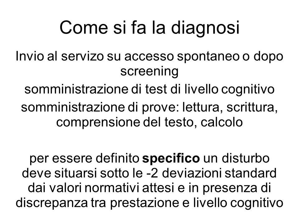 Come si fa la diagnosi Invio al servizo su accesso spontaneo o dopo screening. somministrazione di test di livello cognitivo.