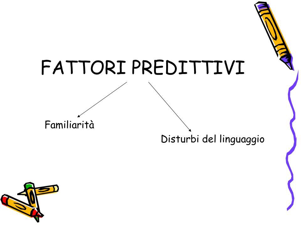 FATTORI PREDITTIVI Familiarità Disturbi del linguaggio