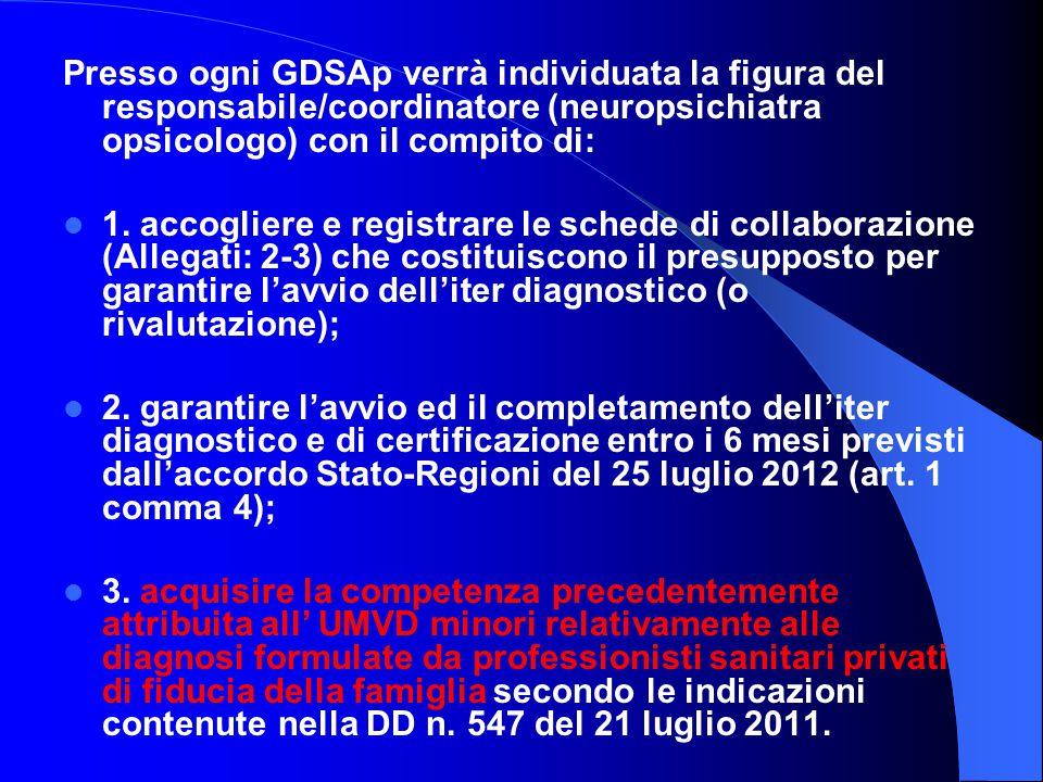 Presso ogni GDSAp verrà individuata la figura del responsabile/coordinatore (neuropsichiatra opsicologo) con il compito di:
