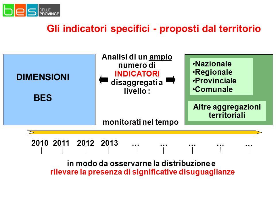 Gli indicatori specifici - proposti dal territorio