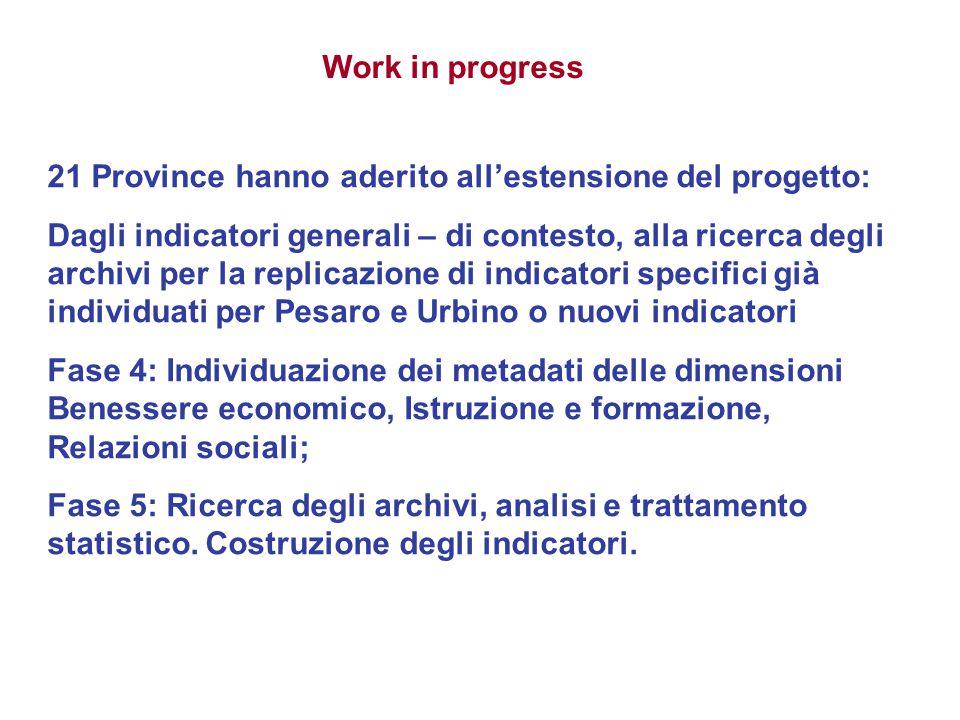 Work in progress 21 Province hanno aderito all'estensione del progetto: