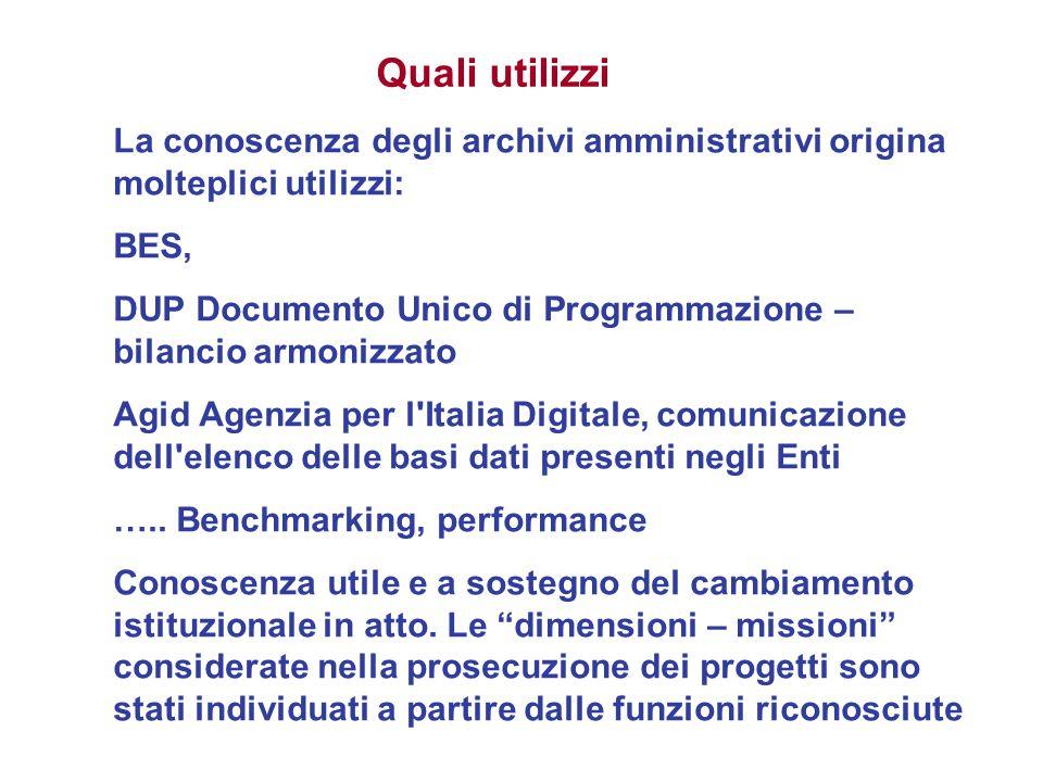Quali utilizzi La conoscenza degli archivi amministrativi origina molteplici utilizzi: BES,
