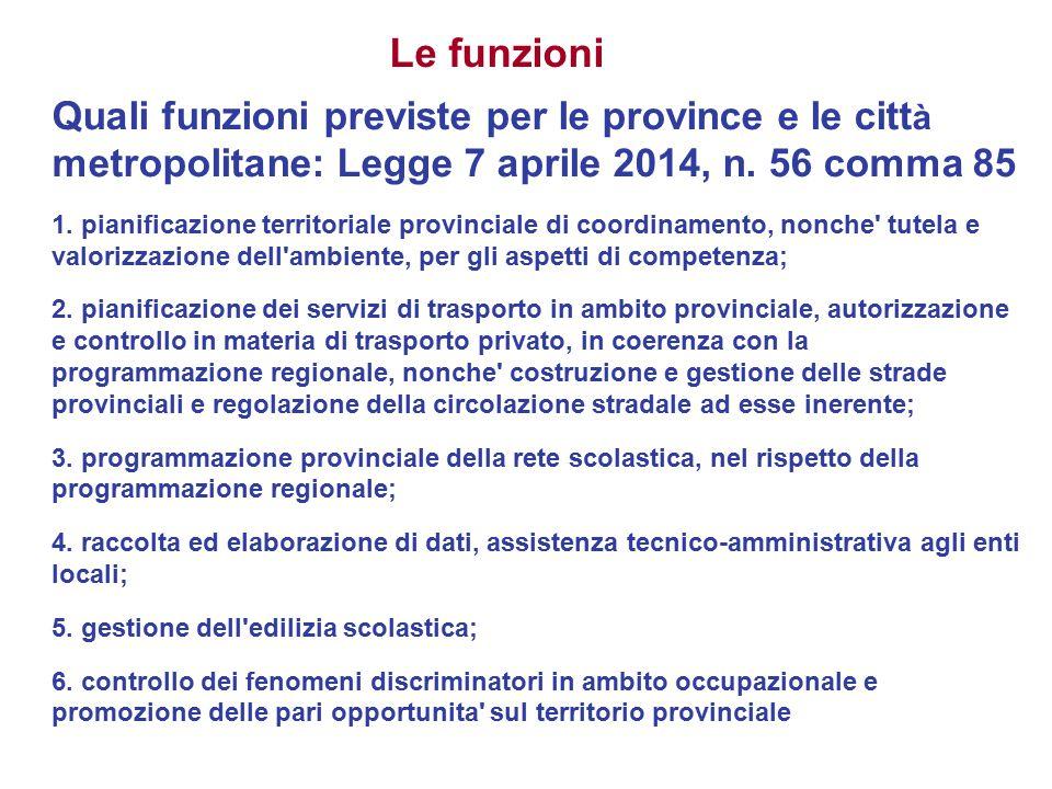 Le funzioni Quali funzioni previste per le province e le città metropolitane: Legge 7 aprile 2014, n. 56 comma 85.