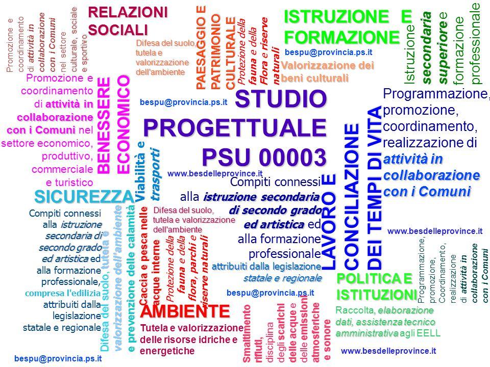 STUDIO PROGETTUALE PSU 00003 LAVORO E CONCILIAZIONE DEI TEMPI DI VITA