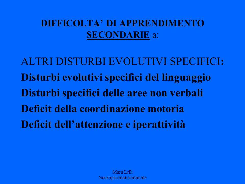 DIFFICOLTA' DI APPRENDIMENTO SECONDARIE a: