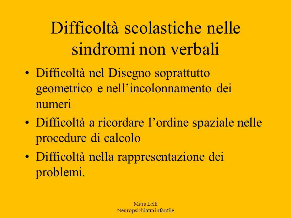 Difficoltà scolastiche nelle sindromi non verbali
