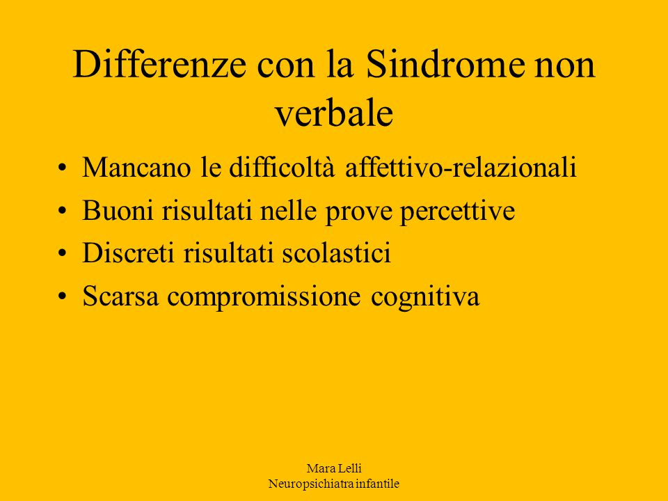 Differenze con la Sindrome non verbale