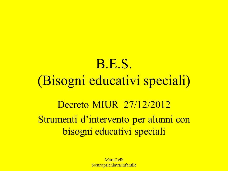 B.E.S. (Bisogni educativi speciali)
