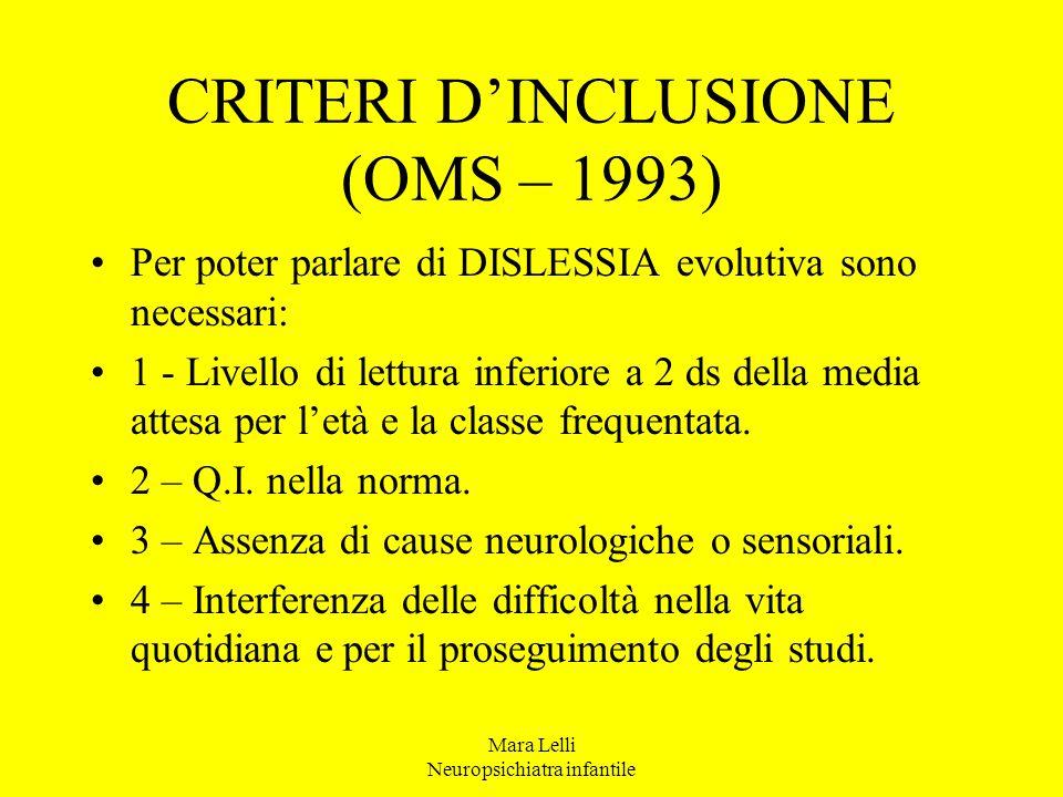 CRITERI D'INCLUSIONE (OMS – 1993)