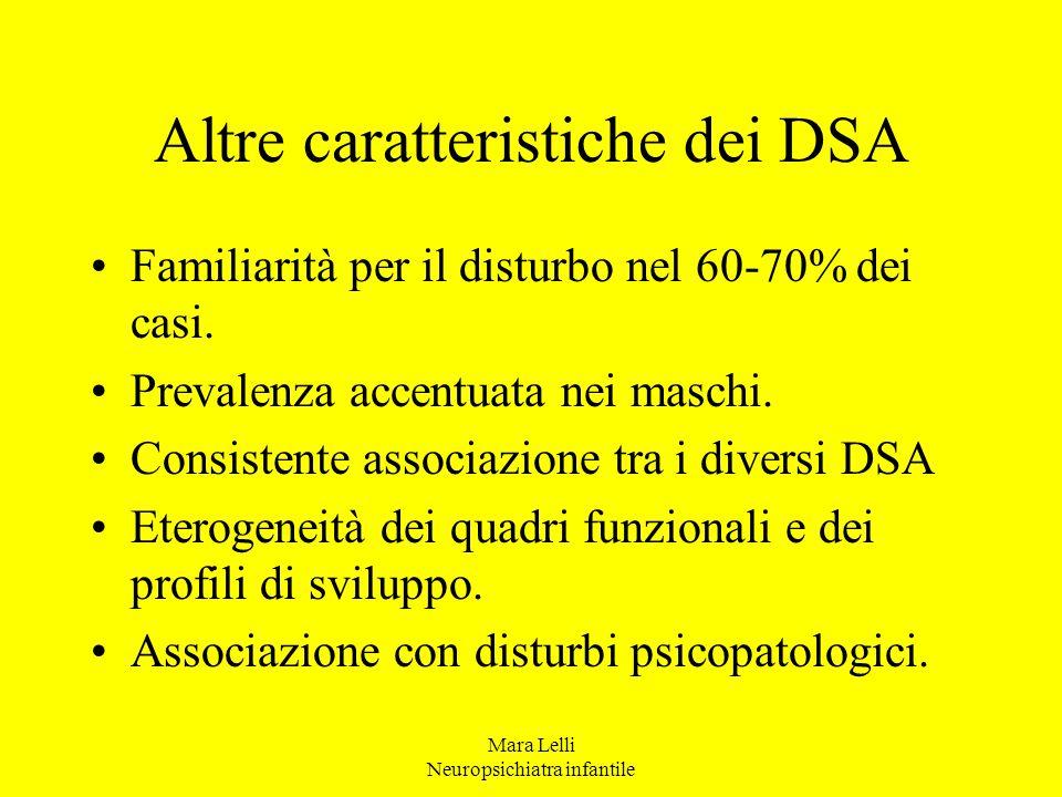 Altre caratteristiche dei DSA